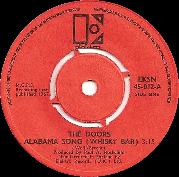Alabama Song (Whisky Bar) / Take It as It Comes - cover art & Alabama Song (Whisky Bar) / Take It as It Comes by The Doors (Single ...