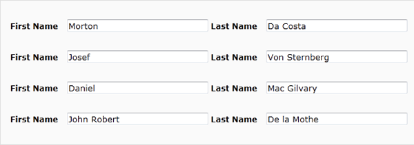 Go In The Last Name Field And First Prefix Must Be Capitalized Regardless Of Origin Their Rules That Would Apply